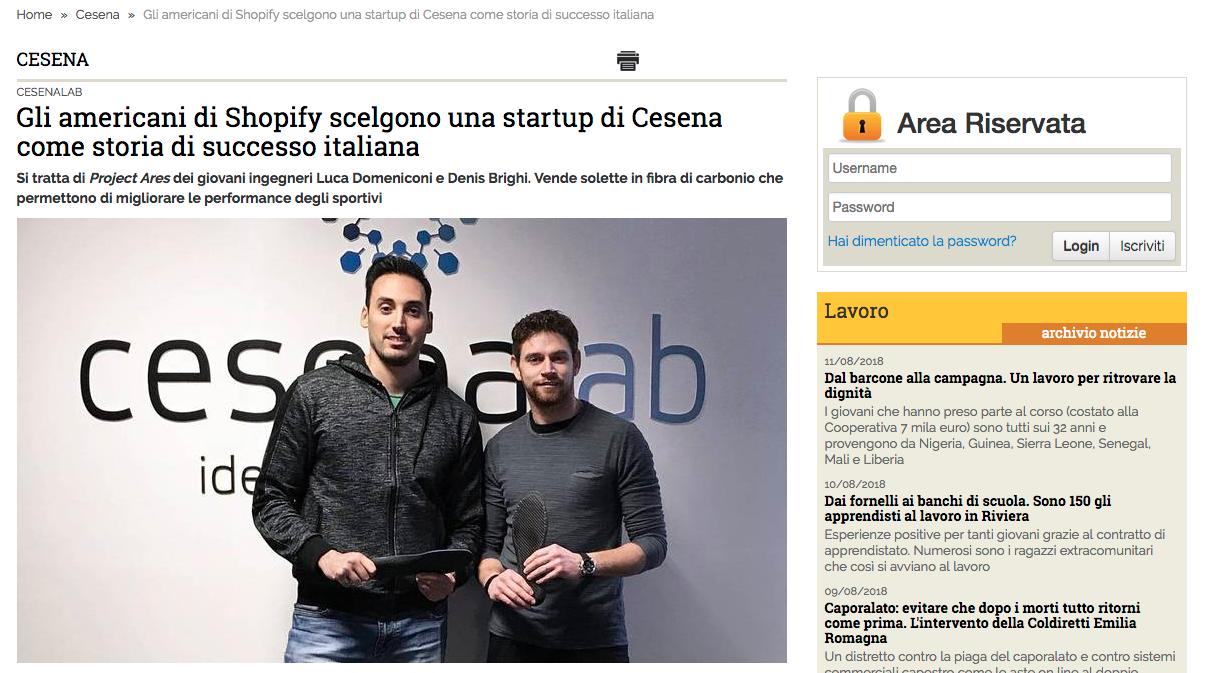 Gli americani di Shopify scelgono Ares come caso di successo. Nella foto Domeniconi Luca e Denis Brighi, i due fondatori.
