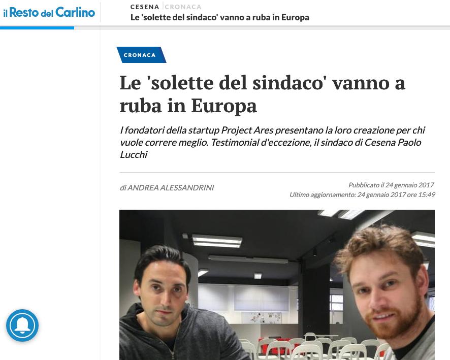 Le solette Ares vanno a ruba in tutta Europa e fanno innamorare il sindaco di Cesena, Paolo Lucchi. Nella foto i due fondatori: Luca Domeniconi e Denis Brighi