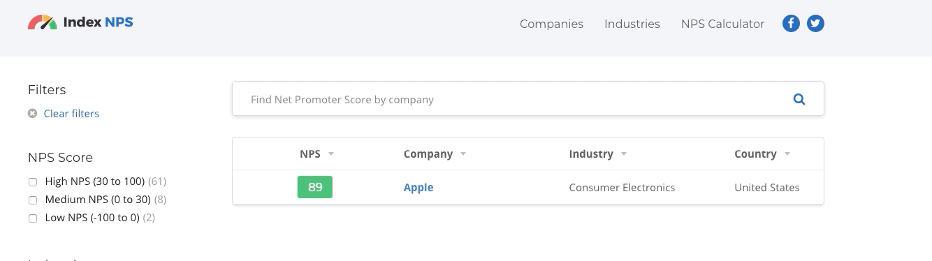 net promoter score nps apple